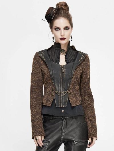 Brown Vintage Steampunk Jacquard Short Jacket for Women