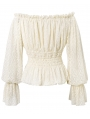 Ivory Vintage Steampunk Lace Long Sleeve Top for Men