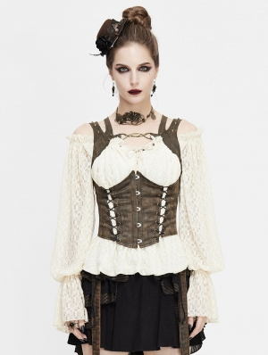Brown Vintage Steampunk Do Old Vest for Women