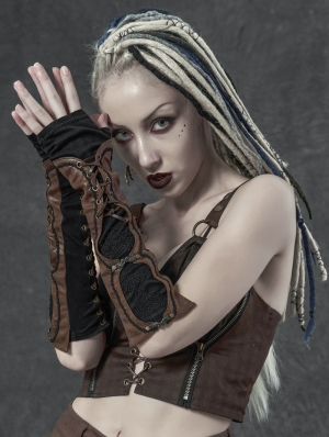 Black and Brown Vintage Steampunk Lace-up Fingerless Gloves for Women