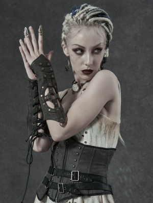 Steampunk Imitation Crocodile PU Gloves for Women