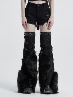 Black Gothic Punk Handsome Faux Fur Leg Warmer Sleeve for Women