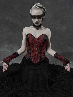 Black and Red Gothic Daily Wear Lace Gloves for Women