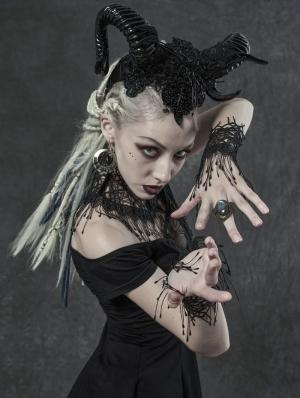 Black Gothic Vine Gloves Neck Cover Three-Piece Set for Women
