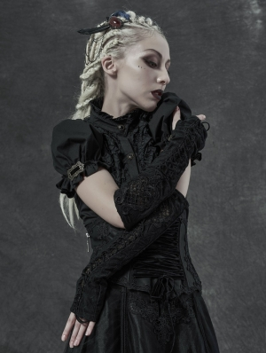 Black Gothic Gorgeous Embroidered Lace-up Sleeve Gloves for Women