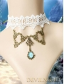 White Lace Blue Pendant Victorian Style Necklace