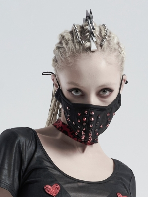 Black and Red Gothic Punk Dazzle Rivet Mask