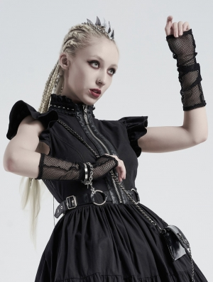 Black Gothic Daily Wear Mesh Gloves for Women