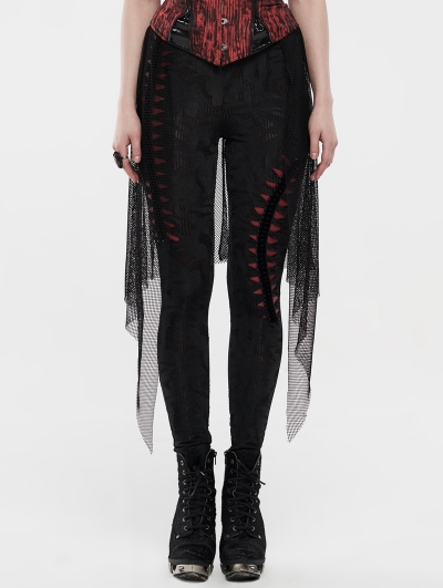 Black and Red Gothic Legging with Mesh Skirt Overlay