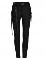 Black Gothic Punk Slim Daily Wear Legging for Women