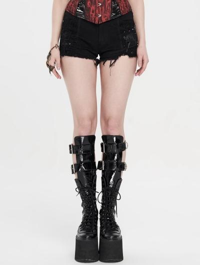 Black Gothic Punk Rivet Hot Shorts for Women
