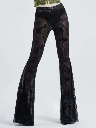 Black Sexy Gothic Dark Fringe Flared Trousers for Women