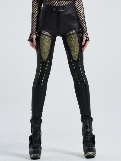 Black Street Fashion Gothic Hollowed-out Daily Wear Legging for Women