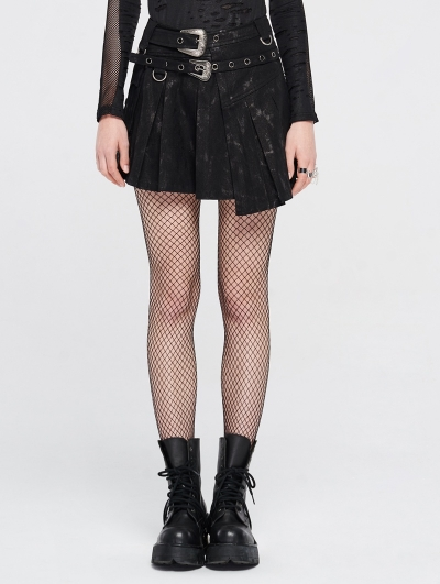 Black Gothic Punk Asymmetrical Mini Skirt