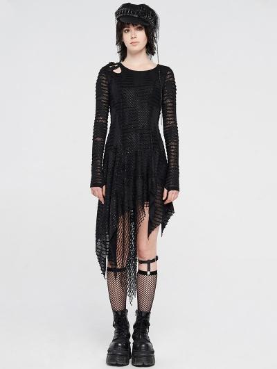 Black Gothic Grunge Long Sleeve Irregular Dark Striped Hole Dress