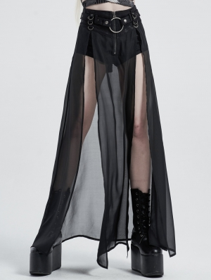 Black Gothic Transparent Fake Two-Pieces Long Skirt
