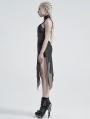 Black Gothic Sexy Daily Wear Asymmetric Perspective Silver Mesh Camisole for Women