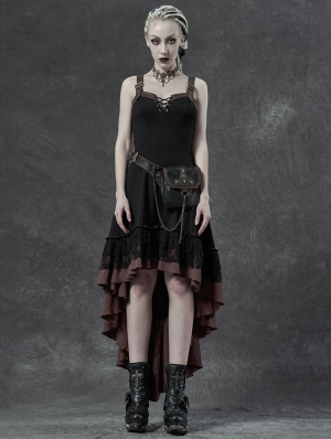 Vintage Steampunk High-low Dress with Detachable Bag