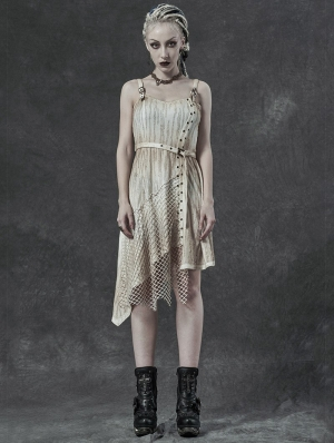 Ivory Vintage Steampunk Do Old Asymmetric Sleeveless Dress