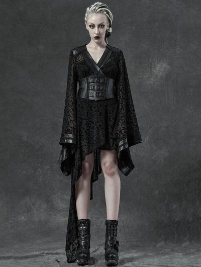 Black Gothic Transparant Jacquard Asymmetrical Kimono for Women