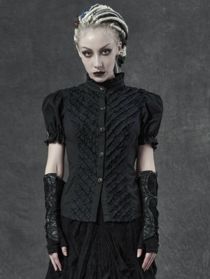Black Vintage Steampunk Puff Short Sleeve Shirt for Women