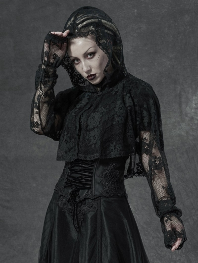 Black Gothic Lace Embroidered Long Sleeve Hooded Top for Women