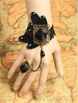 Black Butterfly Rose Lace Gothic Vampire Bracelet Ring Jewelry