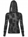 Black Gothic Daily Wear Perspective Long Sleeve Hooded T-shirt for Women