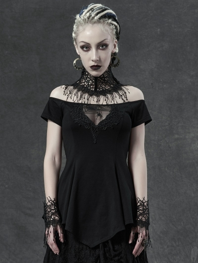 Black Sexy Gothic Off-the-Shoulder Spider Short Sleeve T-Shirt for Women