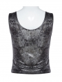 Black Gothic Punk Daily Wear Tank Top for Women
