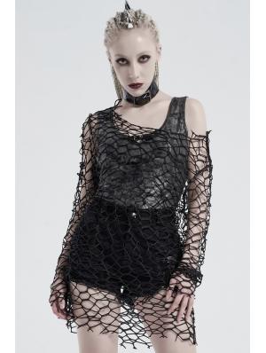 Black Gothic Punk Daily Wear Big Mesh T-Shirt for Women