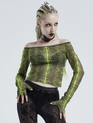 Green Gothic Grunge Off-the-Shoulder Transparant Long Sleeve T-Shirt for Women