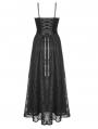 Black Retro Gothic Court Velvet Lace Maxi Prom Party Dress