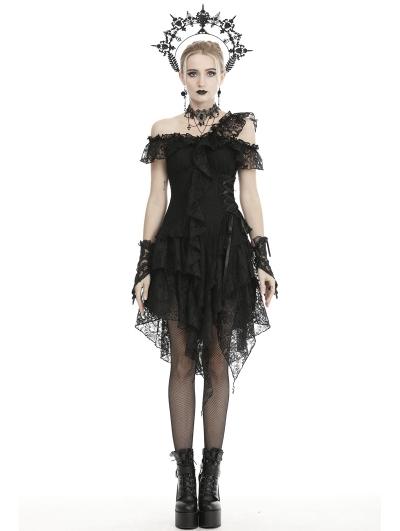 Black Gothic Off-the-Shoulder Lace Irregular Short Party Dress