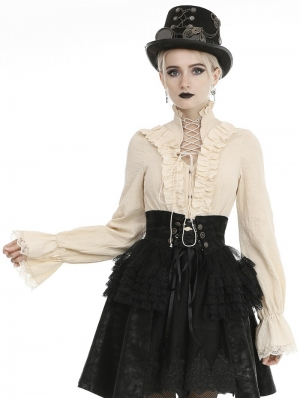 Ivory Vintage Steampunk Long Sleeve Blouse for Women