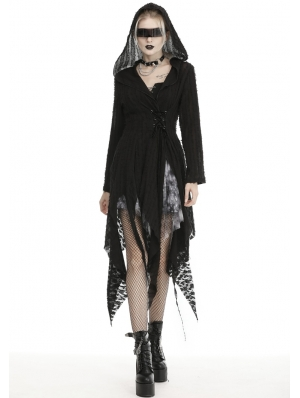 Black Gothic Punk Irregular Long Hooded Casual Trench Coat for Women