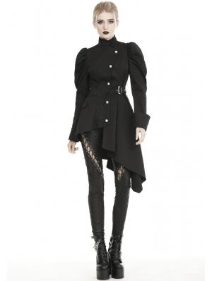 Black Gothic Punk Warrior Long Irregular Casual Jacket for Women