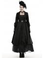 Black Vintage Elegant Gothic Long Belt Casual Coat for Women