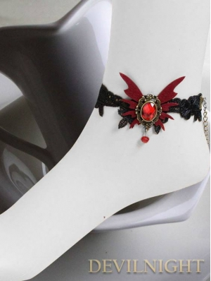 Black Vampire Gothic Lace Butterfly Pendant Ankle Bracelet