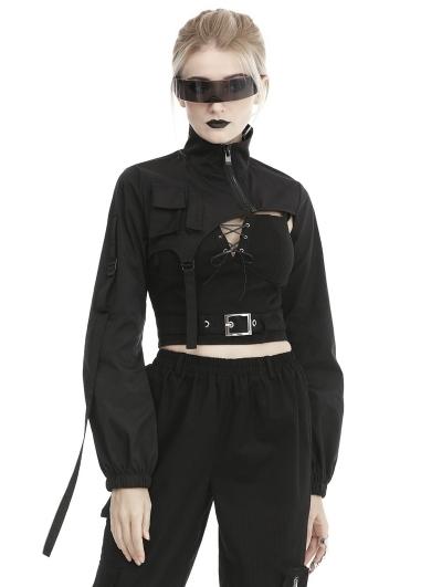 Black Gothic Punk Moto Style Short Casual Jacket for Women