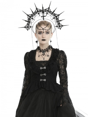 Black Vintage Gothic Victorian Lace Tailcoat for Women