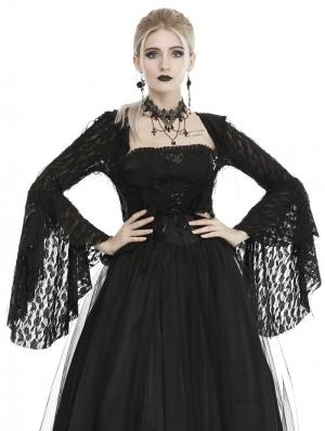 Black Gothic Hooded Short Jacket for Women