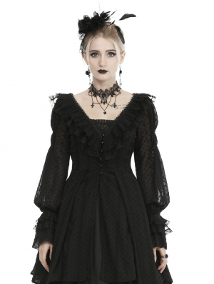 Black Vintage Gothic Dot Chiffon Dress Coat for Women
