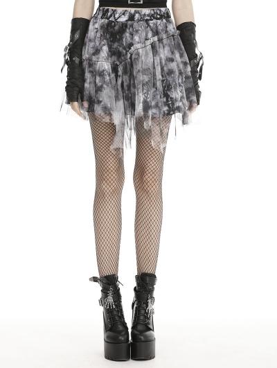 Black Gothic Punk Grunge Decadent Irregular Mini Skirt