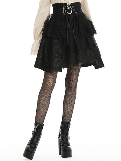 Black Gothic PU Leather Short Layered Skirt