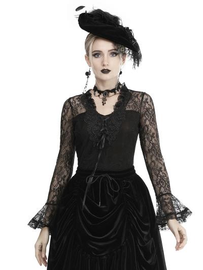 Black Gothic Elegant Lace Long Sleeve T-Shirt for Women