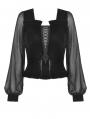 Black Vintage Gothic Velvet Long Sleeve Daily Wear Shirt for Women
