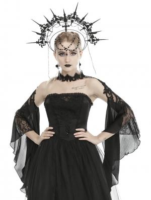 Black Vintage Gothic Gorgeous Lace Trumpet Sleeve Cape for Women