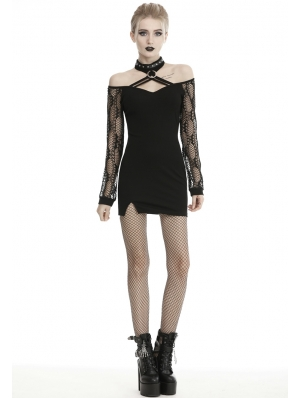 Black Sexy Gothic Grunge Punk Off-the-Shoulder Long Sleeve Mini Dress