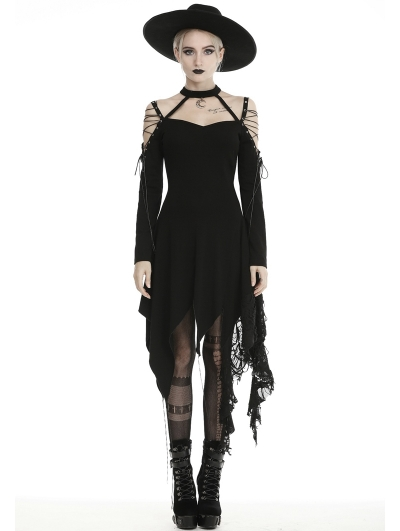 Black Gothic Grunge Off-the-Shoulder Irregular Long Sleeve Daily Wear Dress